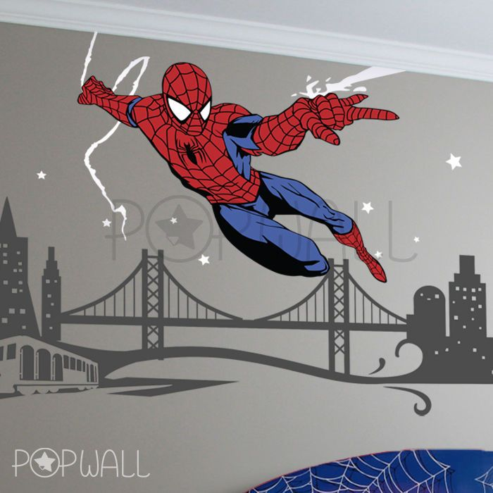 Spiderman Wall Decal SuperHero NY Cityscape Avengers Wall Sticker For Kids  Room Part 84