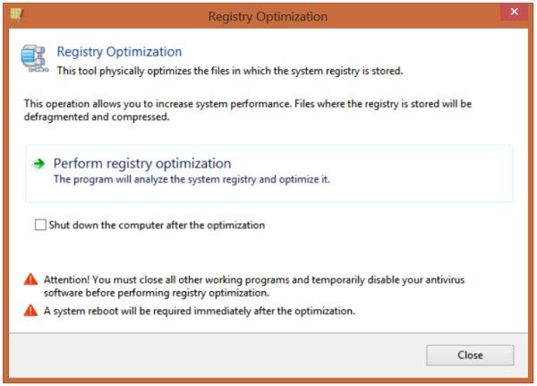 Registry Life Registry Life is a free Registry Cleaning & Optimization Tool for Windows  Once you download and install this freeware Registry Life, you will find that it has a clean easy-to-understand user interface. The first time you run it, it will scan your Windows Registry and report the state it is in. This includes the orphaned registry keys as well as the fragmentation in the registry.