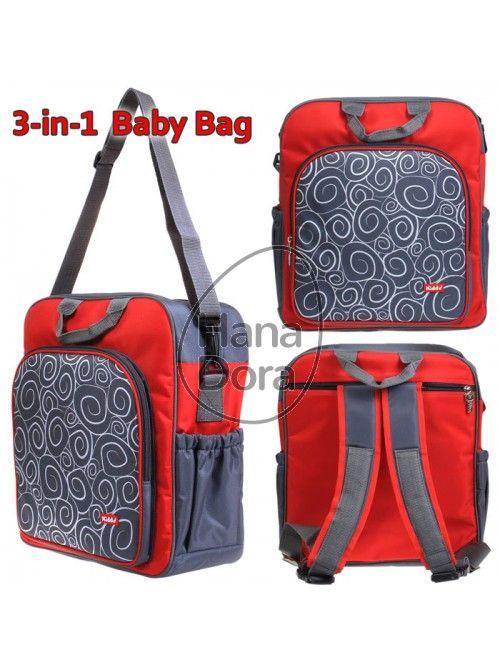 KIDDY BABY BAG 3IN1 - RED http://www.hanadora.com/diapering/kiddy-baby-bag-3in1-red.html