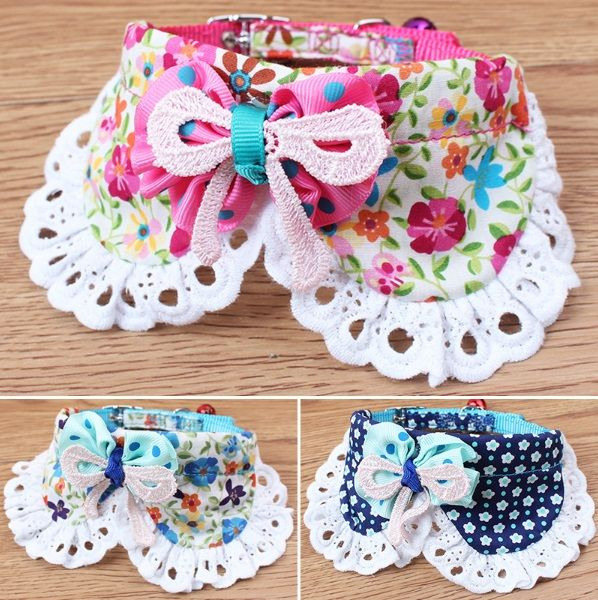 "Flower+Print+Bow+Collar+  Neck+Size:+9-12""+(23cm-30cm)+  Material:+Cotton,+Nylon+Collar  Condition:+Brand+New+  ✿+Collars+are+for+fashion+purposes+only.+Please+always+supervise+your+pet+while+wearing+any+accessories.+✿+"