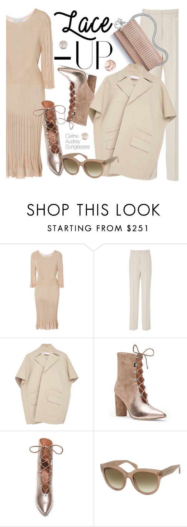 """""""Lace It Up /3"""" by smartbuyglasses-uk ❤ liked on Polyvore featuring Nellie Partow, Sigerson Morrison and CÉLINE"""