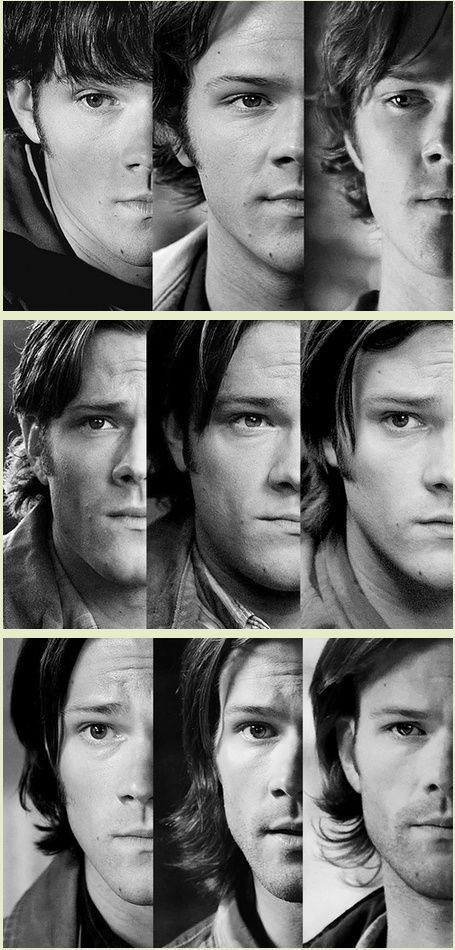 Sam Winchester, seasons 1-9. he looks sad in every picture--- and so scared in 6 and 7