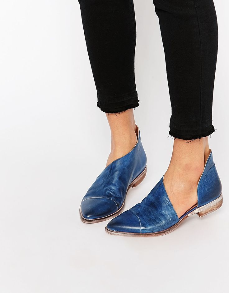 Image 1 of Free People Royal Indigo Blue Cut Out Flat Shoe