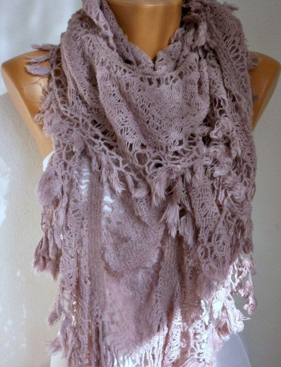 Fabric Knitted Lace Scarf - Shawl Scarf Cowl Scarf - Long Scarf - Ruffle Scarf- Pale Pink -fatwoman. $25.00, via Etsy.