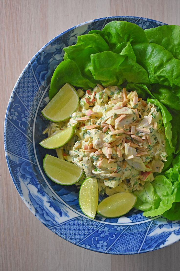 This Whole30-friendly chicken salad is so easy to make and flavored with smoky, aromatic curry powder, crisp apples, fresh herbs, and toasted almonds.