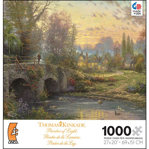 """Thomas Kinkade Cobblestone Evening 1000 Piece Puzzle: The perfect pastime for anyone who loves the beautiful artwork of Thomas Kinkade! This 1000–piece jigsaw puzzle measures 27"""" x 20"""" when complete. For ages 13 and up. Made in the USA!  http://www.calendars.com/Thomas-Kinkade/Thomas-Kinkade-Cobblestone-Evening-1000-Piece-Puzzle/prod201400000367/?categoryId=cat200008=cat200008"""