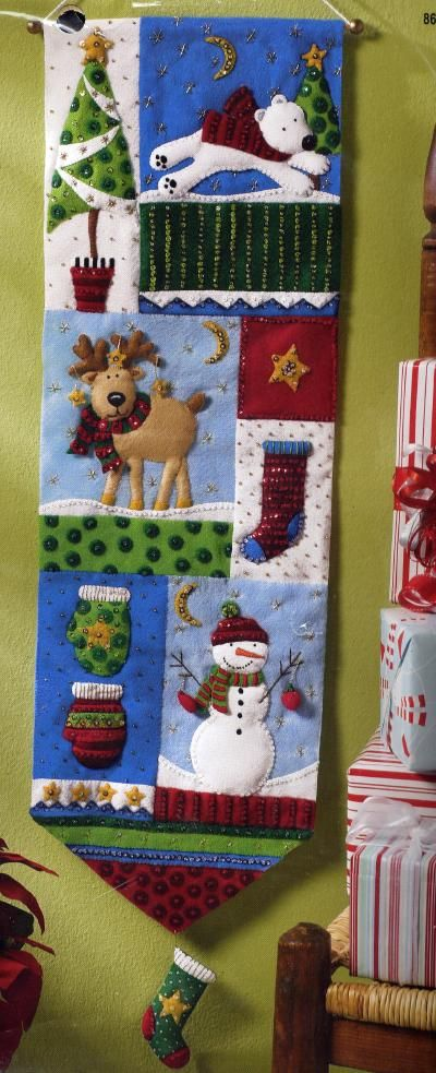 Bucilla Christmas Patchwork Wall Hanging Felt Kit : Anitas Arts, Craft Kits and Supplies