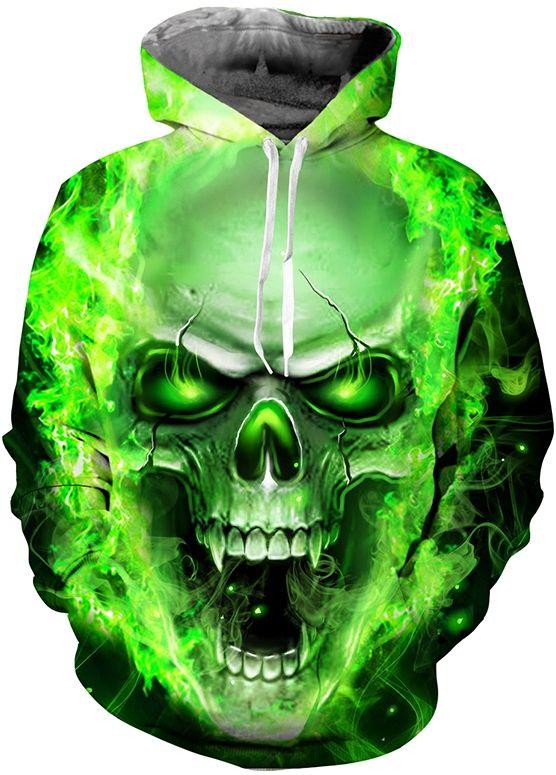 32647c73ed61 GREEN TOXIC SKULL - 3D STREET WEAR HOODIE Design   Green Toxic Skull Style    Street Wear Collar   Hoodie Sleeve   Long Color   Green Size   S