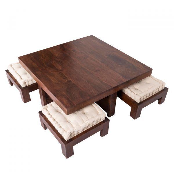 Dark Shade Dakota Coffee Table Set With Four Stools 100 Solid Wood In 2020 Coffee Table Dark Wood Coffee Table Coffee Table Setting