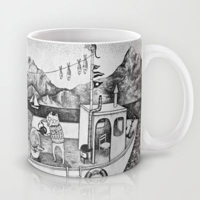 Fox on Fishing-boat Mug by Ulrika Kestere - $15.00