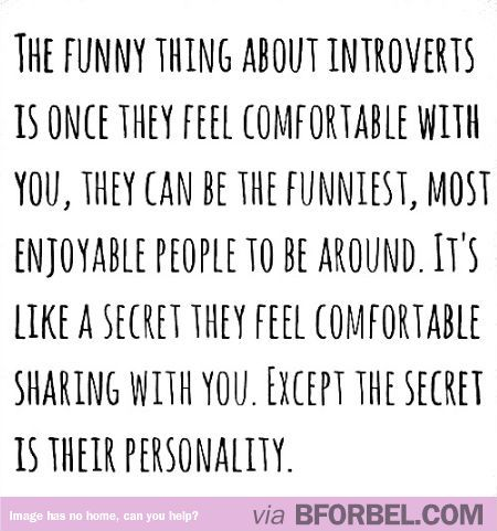 """An introvert's secret is their personality"". Beautiful quote."