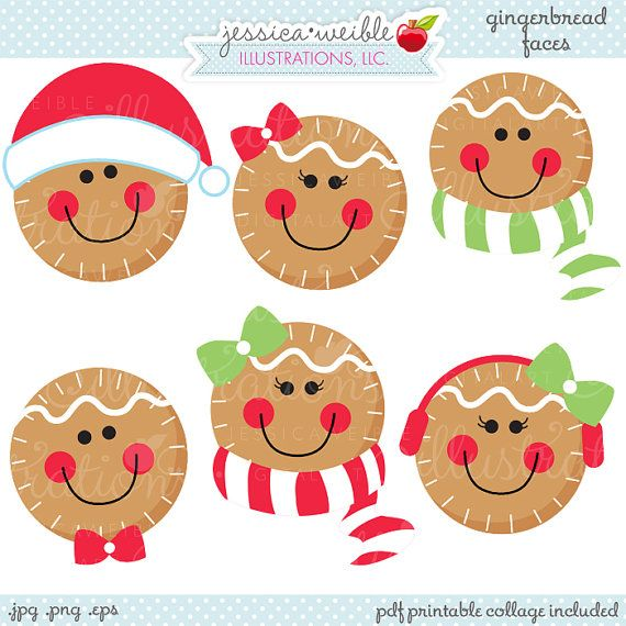Clip Art Cute Christmas Clipart 1000 ideas about christmas clipart on pinterest gingerbread faces cute digital commercial use ok graphics