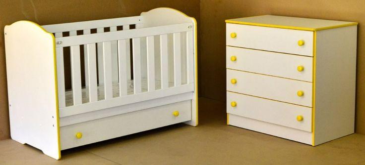 Candy Range - Yellow & White Clarissa cot & Jumbo 4 drawer chest