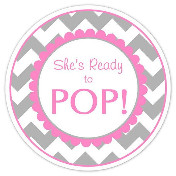 Baby Shower Ready to Pop labels Gray Chevron by delightdesignbiz, $5.95