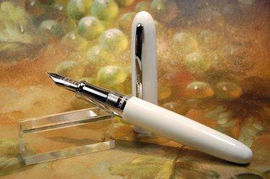 Giorgio Armani White Fountain Pen w/ Silver Trim