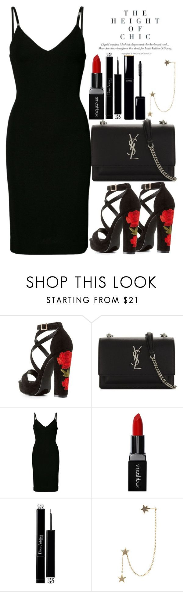 """Untitled #1827"" by mihai-theodora ❤ liked on Polyvore featuring Charlotte Russe, Yves Saint Laurent, Dsquared2, Smashbox, Christian Dior, Chanel and Zimmermann"
