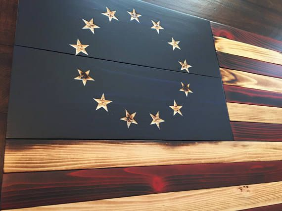 Betsy Ross Flag, Colonial Red, White & Blue, Early American Decor, Wooden American Flag, Home Decor