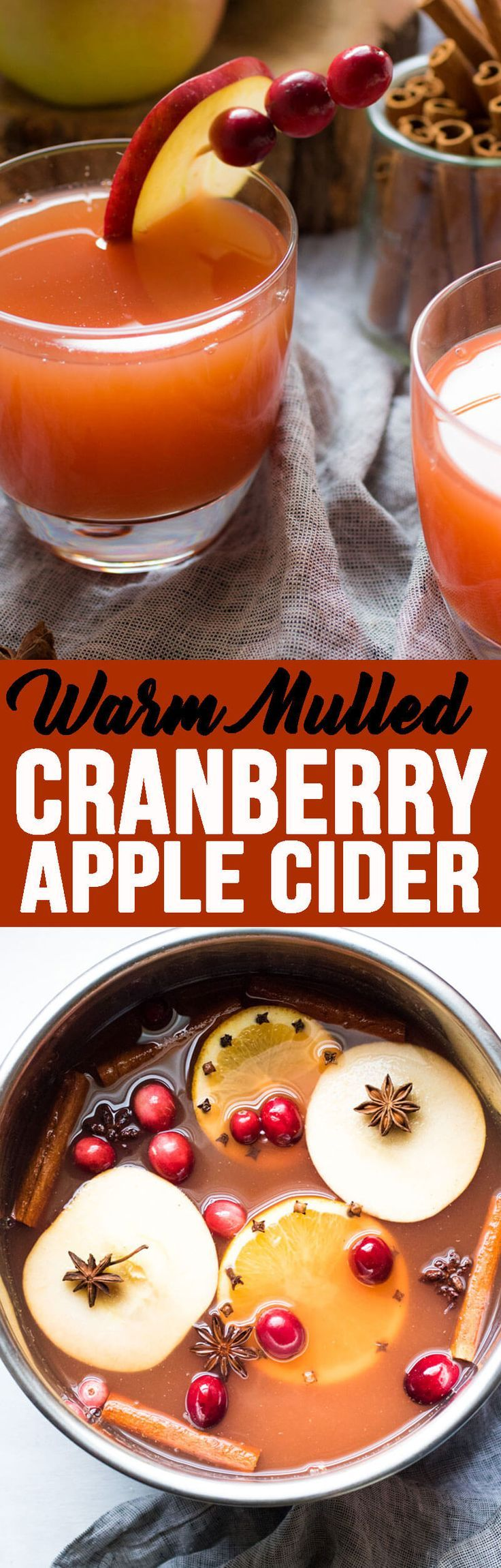 Warm Mulled Cranberry Apple Cider is perfect for curling up in front of the fire on a cold winter night! #applecider #warmmulledcranberryapplecider #cranberryapplecider #mulledapplecider #cider