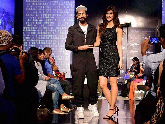Kriti Sanon and Ayushmann Khurrana during a celebrity fashion show in Mumbai