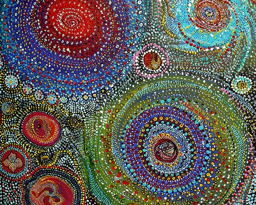 spiral universe | acrylic and wall paints on old roof slate,… | Flickr
