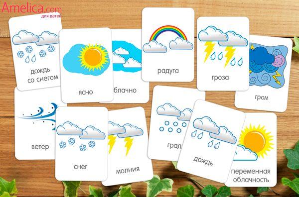 Развивающие карточки с картинками погода скачать бесплатно, распечатать для всестороннего развития детей