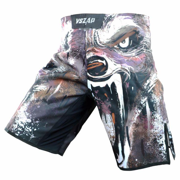 New VSZAP Men's Muay Thai Boxing Shorts Printing MMA Shorts Fight Grappling Short Polyester Kick Gel Thai Boxing Shorts MMA Boxe