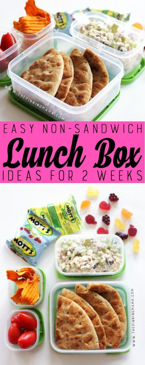 Chicken Salad lunch box idea for kids! Just one of 2 weeks worth of non-sandwich school lunch ideas that are fun, healthy, and easy to make! Grab your lunch bag or bento box and get started!