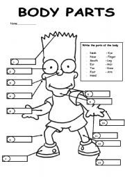 English worksheet Label Bart´s body parts. Body parts