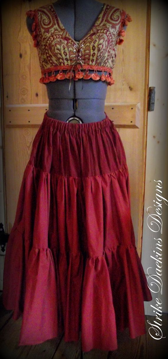 Full Tiered Gypsy Belly Dance Skirt by StrikeDaekinsDesigns, $65.00