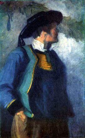 Франц Марк Автопортрет в бретонской шляпе 1905 г.