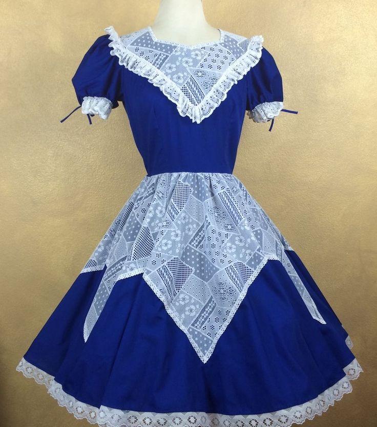 Partners Please Blue w White Lace Square Dance Dress