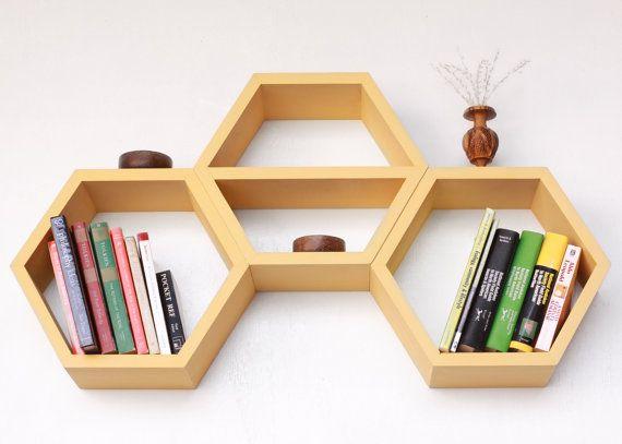 Geometric Wood Shelf - Middle Shelf Hexagon - Set of Three Honeycomb Shelves - Mid Century Modern Design Ideas via Etsy