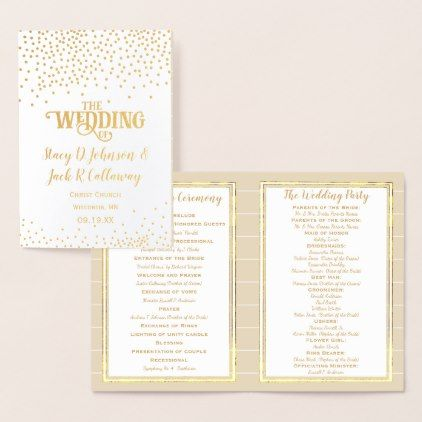 Gold Foil WEDDING PROGRAM Confetti Typography - calligraphy gifts unique style cyo customize