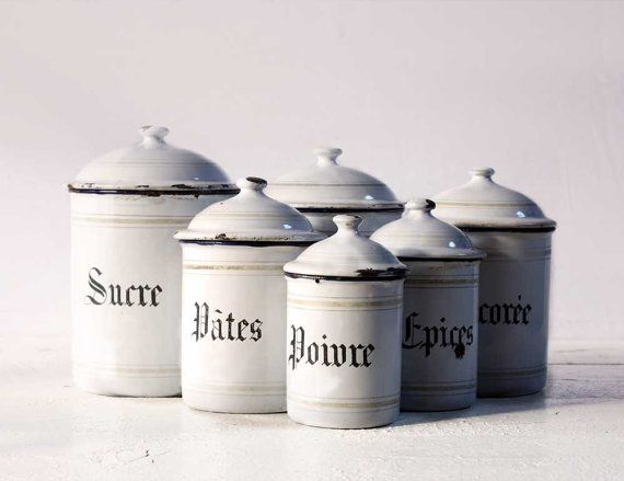 Beautiful French set of  six WHITE enamel canisters