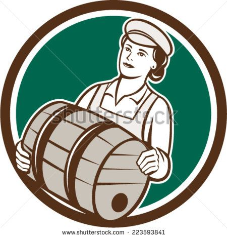 Illustration of a female bartender worker carrying keg set inside circle on isolated  background done in retro style.  - stock vector #mother #retro #illustration