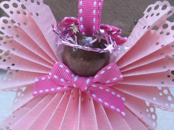 Pink Angel Ornament Paper Ribbon Angel Tree di SnowNoseCrafts