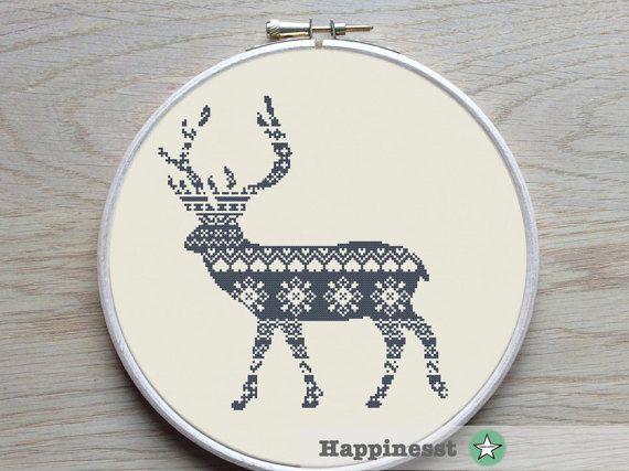cross stitch pattern nordic deer reindeer nordic by Happinesst