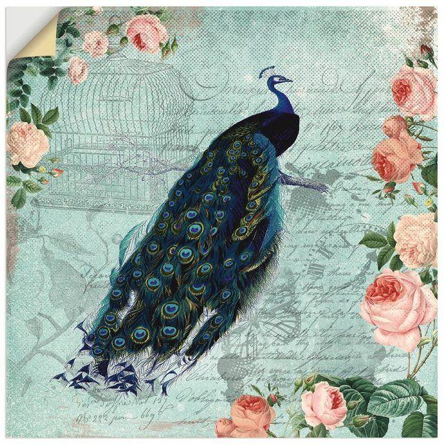 Wandfolie »UtArt: Vintage Rosen und Pfau Illustration«