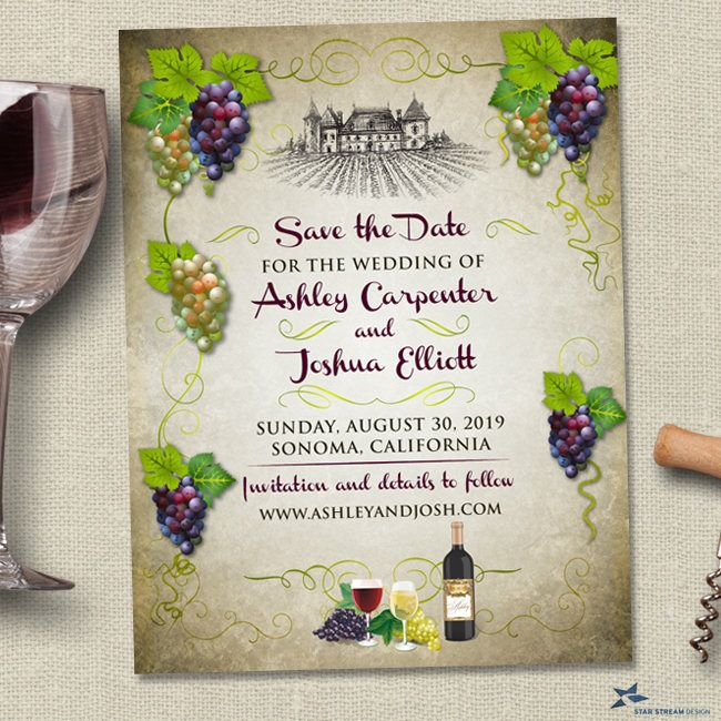 Vineyard Grapes Winery Save the Date Postcard or Flat Card, Printable, Evite or Printed (US Only) Announcements by StarStreamDesign on Etsy https://www.etsy.com/listing/527430994/vineyard-grapes-winery-save-the-date