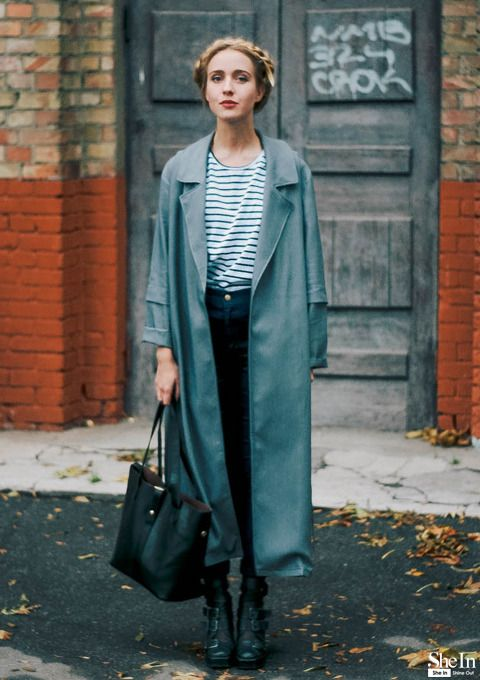the–one:  Grey Long Coat via Shein