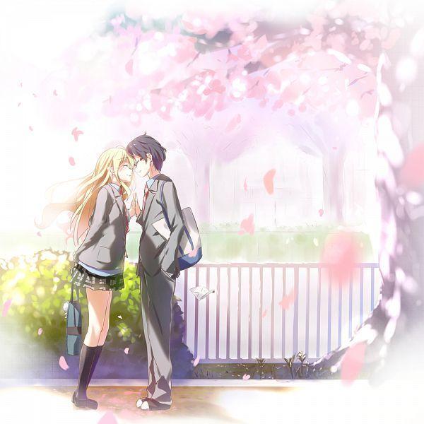 Tags: Anime, Wingheart, Shigatsu wa Kimi no Uso, Miyazono Kaori, Arima Kousei, Hand In Pocket, Cherry Tree