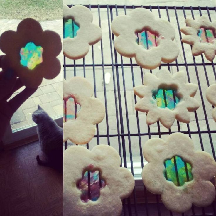 Stained glass sugar cookies with jolly ranchers bonus cat photobomb (xpost from r/baking)