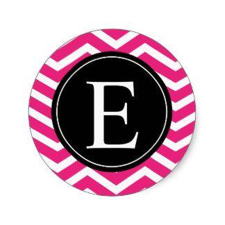 Monograma negro blanco rosado de Chevron Pegatinas Redondas