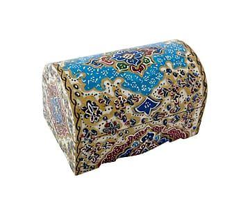 Caja persa en miniatura de hueso de camello pintada a mano Long