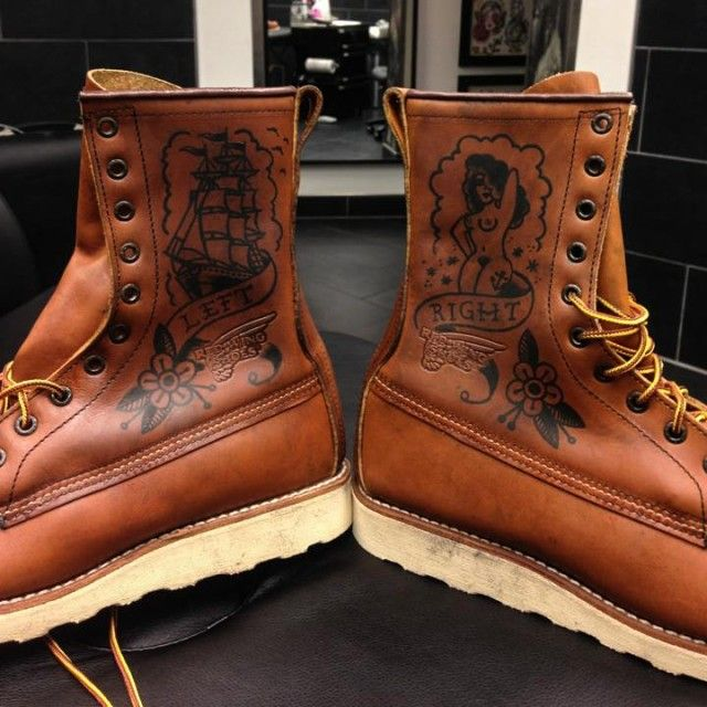 Ink And Cowhide Customizing A Red Wing  At Denim Hunters Bike Pinterest Red Wing Boots Red Wing Shoes And Red Wing