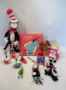 Lot Dr Seuss Plush Plastic Toys Ornaments Cat in The Hat Cindy Lou Grinch Used   eBay
