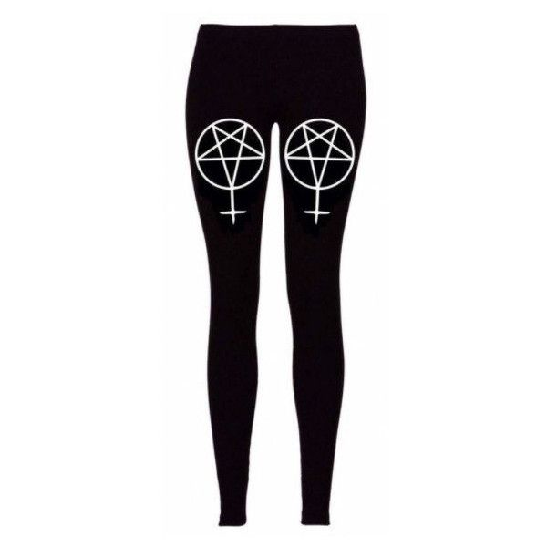 Deathwish13Clothing Pentagram Inverted Cross Leggings ($35) ❤ liked on Polyvore featuring pants, leggings, bottoms, black, women's clothing, cross leggings, black cross leggings, black trousers, black leggings and black pants