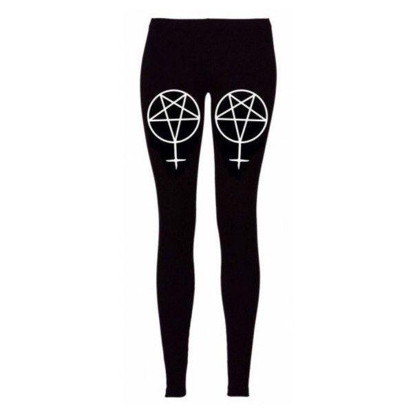 Pentagram Inverted Cross Leggings (£22) ❤ liked on Polyvore