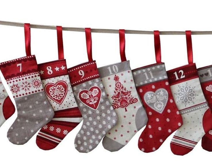 Scandi Christmas Stockings Advent Calendar Bunting Panel Fabric by Henley Studio