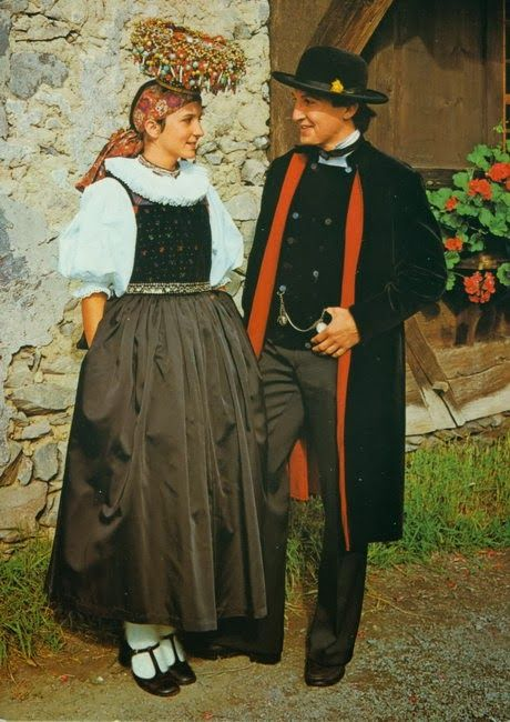 Local fashion: Traditional wedding costume and headdress of Europe; Black Forest